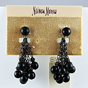 "SALE Vintage ""Neiman Marcus clip on earrings black metallic beads dark dangling chains"