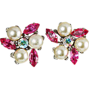 SALE Judy Lee ear clips pink rhinestones & large imitation pearls