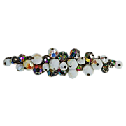 SALE Beautiful long brooch iridescent white glass beads & AB beads