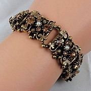 Book link bracelet Amber rhinestones & imitation white pearls antique gold tone