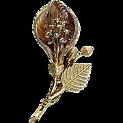 SALE Floral gold tone wire brooch solid leaf & stem