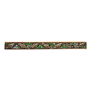 Bar pin with lt green & crystal rhinestones filigree & Edwardian