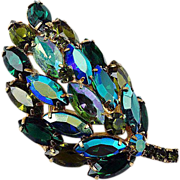 SALE Floral domed rhinestone brooch blue-green shades