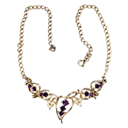 SALE Choker necklace Amethyst rhinestones plated gold tone
