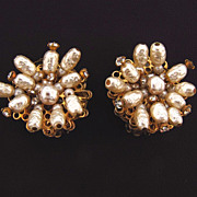 Signed Carnegie imitation Baroque white Pearl clip on earrings