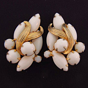 Signed Weiss large Opaque White stone clip on earrings