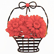 SALE Large flower basket brooch with molded celluloid flowers
