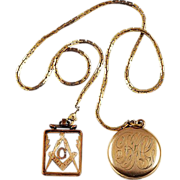 SALE Long Watch chain with locket and FOB with initial G - W&H Co