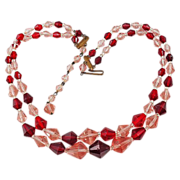 West Germany red & pink facet crystal bead adjustable necklace