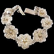 SALE Silver wire floral bracelet marked 800 MP