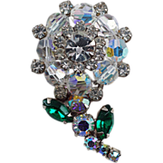 Floral brooch with crystal AB beads which form the flower