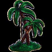 Vintage Tropical Palm tree brooch in bright enamel