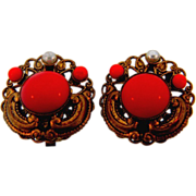 Marked W Germany filigree button clip on earrings with coral colored glass stones