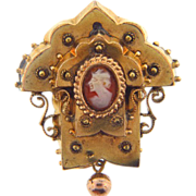 Ornate C clasp early 1900's Etruscan design gold tone brooch with tiny cameo