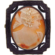 Lovely domed carved shell cameo brooch in a silver frame.