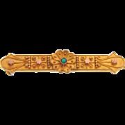 Small Edwardian bright gold tone C clasp bar pin