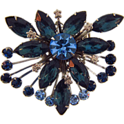 Shades of blue vintage rhinestone floral brooch