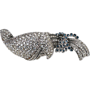 Gorgeous raised abstract curled design high quality crystal rhinestone brooch