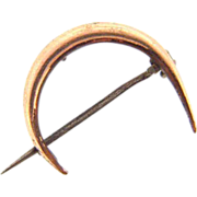 Small thin gold filled Crescent Moon C clasp pin