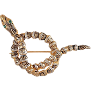 Damescene coiled snake brooch rhinestone eye