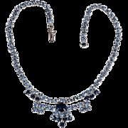 Rhinestone adjustable choker necklace shades of blue
