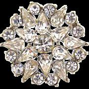 Large circular snowflake vintage Brooch with crystal rhinestones