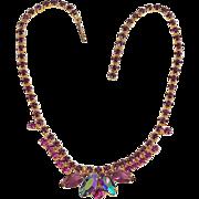 Colorful rhinestone choker necklace deep purple & AB stones