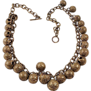 Brass embossed round beads necklace chunky mid eastern look