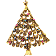 Signed Eisenberg Ice Christmas Tree Brooch