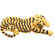Signed Danecraft tiger gold tone Brooch