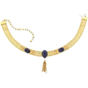 Vintage choker gold tone mesh Necklace with blue glass cabochons
