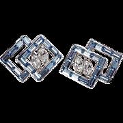 Scatter pins matching pair blue & crystal rhinestones