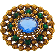 Vintage domed Brooch with large blue glass stone and smaller green stones