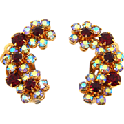Signed Weiss N.Y. floral curved rhinestone clip on earrings