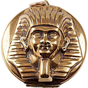 Egyptian Revival large King Tut Pharaoh gold tone Locket
