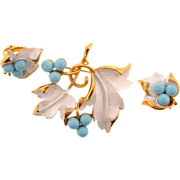 "SOLD Signed Sarah Coventry 1967 ""Placid Beauty"" brooch and clip on earrings"