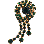 Vintage 1960's green rhinestone brooch with dangles