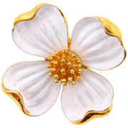 Signed Crown Trifari 1960's Dogwood flower brooch