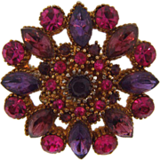 Brilliant pink,lavender and purple vintage rhinestone brooch