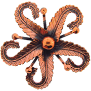 SOLD Signed Renoir copper Brooch in a stylish floral or starfish design