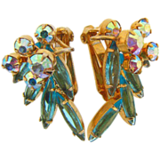 D&E Juliana gold tone AB and turquoise rhinestone clip on earrings