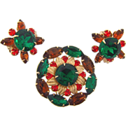 Vintage floral rhinestone Brooch and clip on Earrings