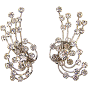 c 1950's large crystal rhinestone clip on Earrings