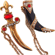 Fabulous 1940's Chatelaine of large heavy sheath and sword with rhinestones