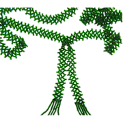 48 inch long green glass seed bead Sautoir Necklace