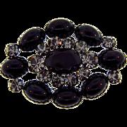 Large oval rhinestone Brooch with gunmetal finish
