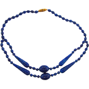 Vintage deep blue adventurine glass bead Necklace choker length