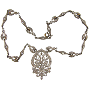 Vintage 1940's white metal pendant choker Necklace with paste stones