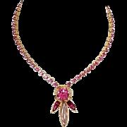 Juliana D & E choker necklace floral light & dark pink rhinestones