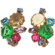 Vintage 1960's multicolored rhinestone clip on Earrings